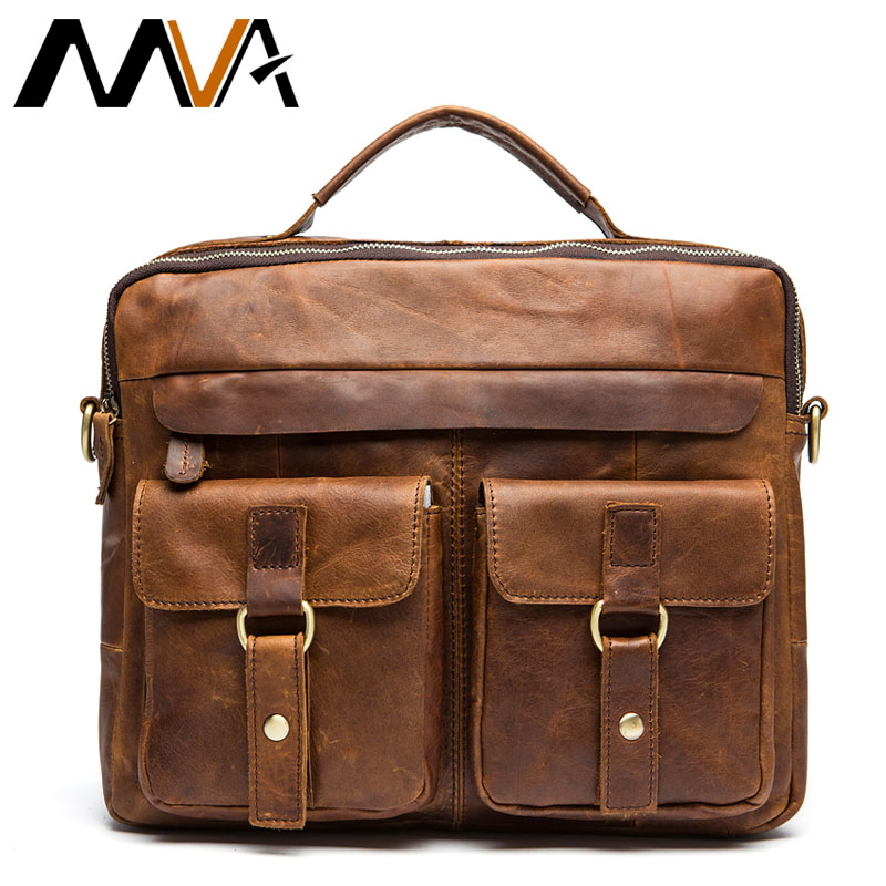 MVA Business Briefcases Bags Men's Genuine Leather Bag For Document 14 Laptop Bag Leather Briefcases Office Bags For Men 8001