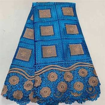 New arrival african lace fabrics high quality blue France cord lace 2020 guipure lace fabric for Nigerian stone lace fabric