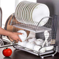 2 Tier S-Shaped Dish Drainer Stainless Steel Drying Rack Home Washing Great Kitchen Sink Dish Drainer Drying Rack Organizer