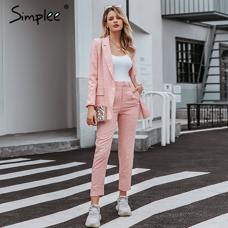 Simplee Casual Women Pink Plaid Blazer Autumn Single Breasted Long Sleeve Female Office Pants Blazer Suits Winter Ladies Outwear