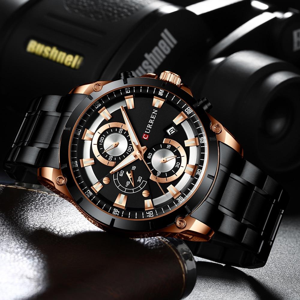 Banda de Ouro Relógios de Pulso Militar do Esporte Novo Curren Relógios Homens Moda Negócios Branco Dial Quartzo Relógio Masculino Aço 2020