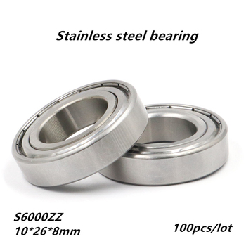 100pcs/lot S6000ZZ 10x26x8mm ABEC-5 Stainless steel Deep Groove Ball bearing Double metal cover S6000 ZZ 6000Z