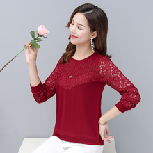 Spring Women Lace Blouse Red Black Crochet Chic Classy Top Woman Casual Round Collar Long Sleeve Sequined Blouse Plus Size Wear layered flounce lace insert long sleeve blouse