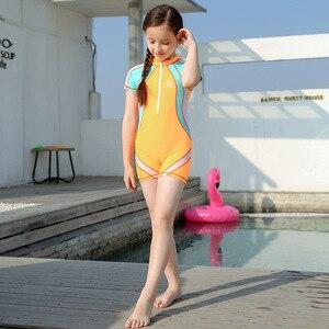 Image 3 - Bañador deportivo para niños de 3 a 15T, traje de baño de una pieza con gorro de baño, traje de baño de competición para niños y niñas