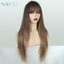 Long Dark Brown Wig with Bangs Dark Root 28 inches Synthetic Straight Ombre Color Blonde Hair Wigs for Women High Heat Resistant emmor long dark brown ombre wavy synthetic hair wigs with bangs high temperature layered fluffy daily wig for women