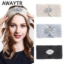 Женская вязаная повязка на голову awaytr зимняя теплая широкая