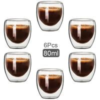 Tazza di vetro a doppia parete da 80ML tazze da tè trasparenti fatte a mano resistenti al calore MINI tazza di Whisky tazza da caffè Espresso da 100 gradi centigradi