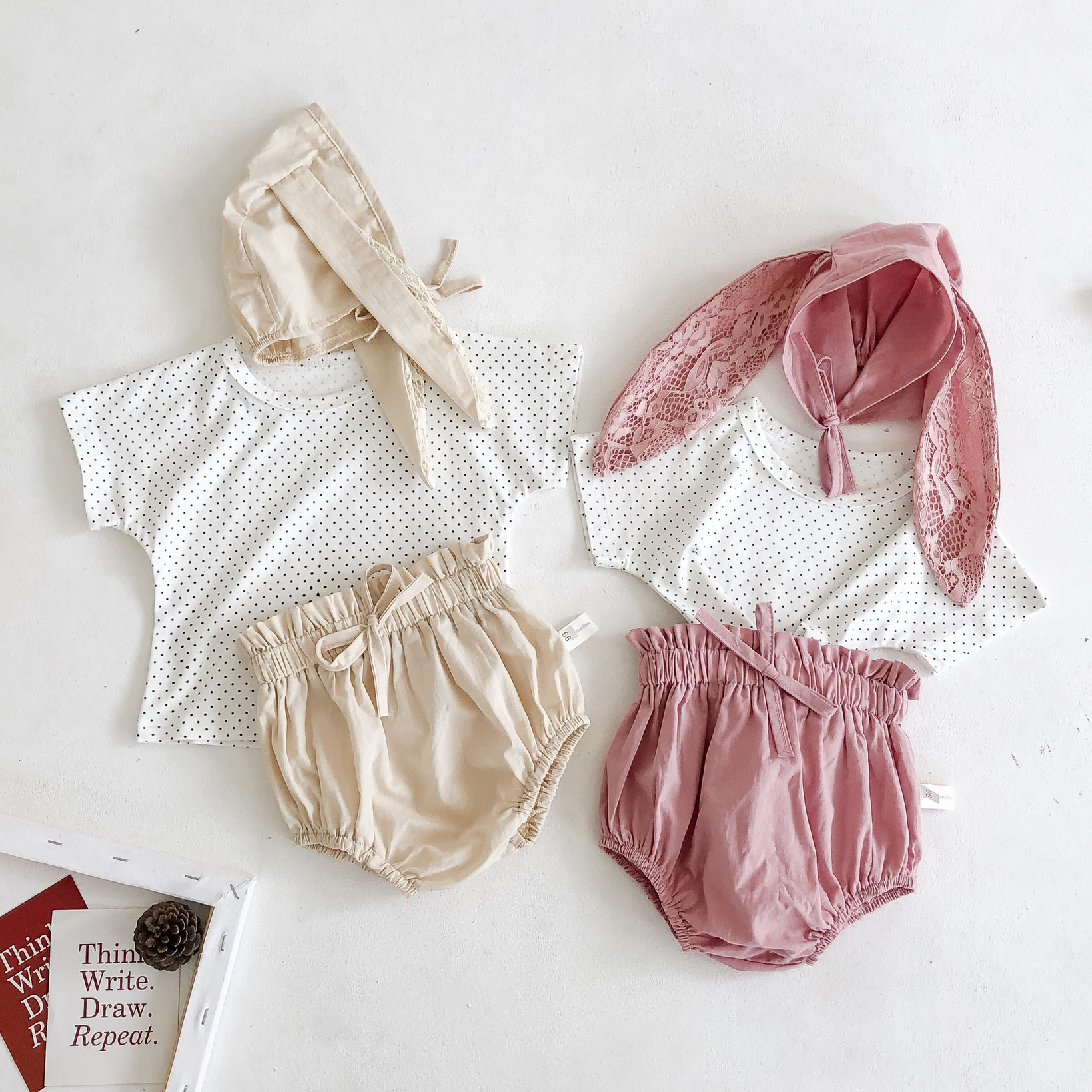 Newborn Baby Girl Cotton Dot Print T-shirt+bloomers+rabbit Ear Hat Outfit Baby Clothing Baby Girls T-shirt Shorts Clothes Set