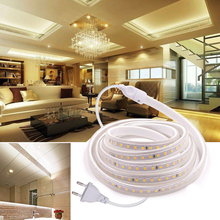 Waterproof EU Plug LED Strip Light Flexible Tape Ribbon Diode LED Strip lamp Warm white Bias lighting for Home Decoration D30