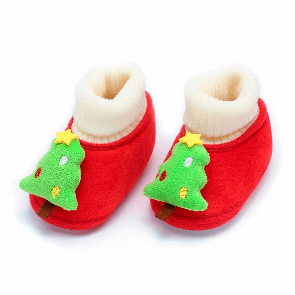 ToddlerBaby Shoes Christmas Deer Cartoon Newborn Boys Girls First Shoe New Winter Warm Soft Sole Boot Casual Shoes For Baby