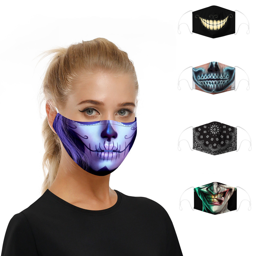 Fashion 3D Printing Reusable PM2.5 Filter Mouth Face Mask Unisex Mouth Muffle Mask Sports Windproof Anti-fog Breathable Masks