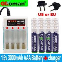Бренд 3000mah 1,5 V ААА алкалиновая батарея AAA перезаряжаемая батарея для дистанционного управления игрушка Batery дымовая сигнализация с зарядным устройством