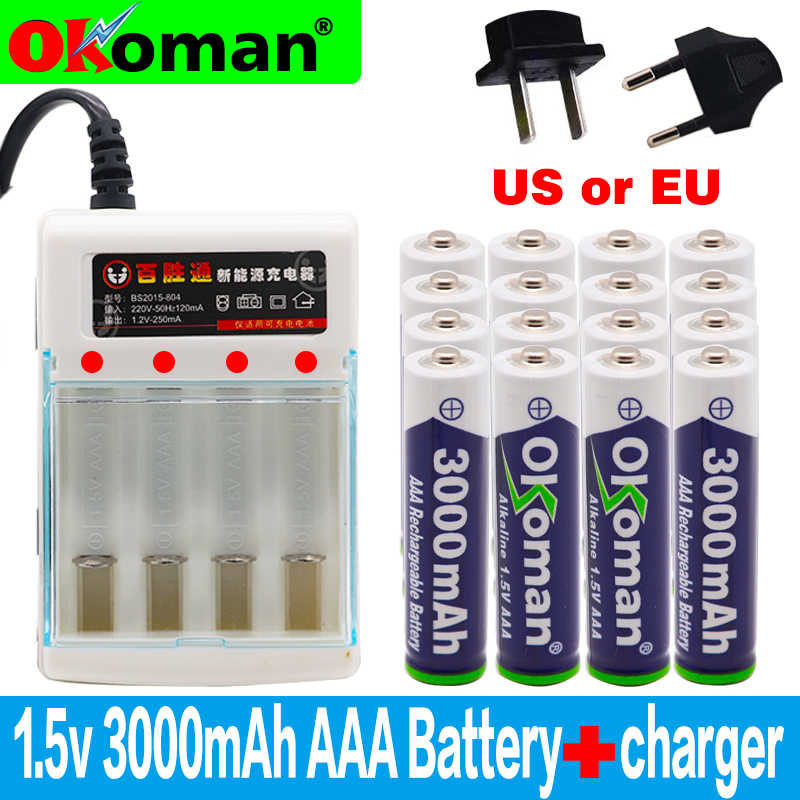 New Brand 3000mah 1.5V AAA Alkaline Battery AAA rechargeable battery for Remote Control Toy Batery Smoke alarm with charger