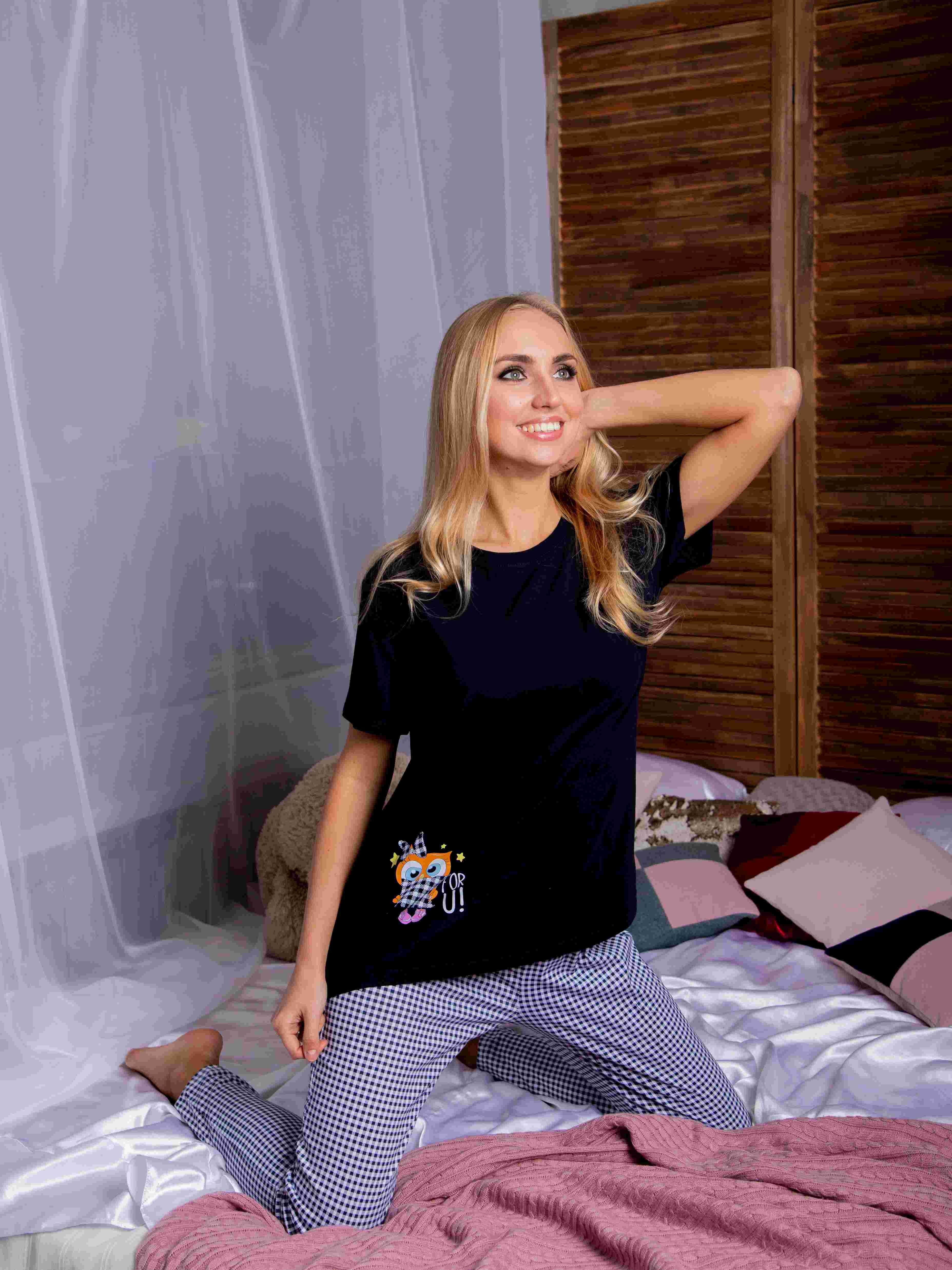 Atoff Home Pajamas Female ZHP 024 (dark Blue + Cage)