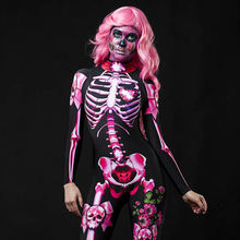 Echoine Rompers Halloween costume lady masquerade skull jumpsuit rose skeleton cosplay