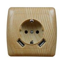 Chargeur de prise murale USB 5V 2a, Double Port USB 5V 2a, prise en bois de haute qualité, couleur blanche LWA-04
