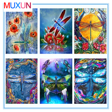 Muxun Diy Full Square Diamond Painting Kit Animals Embroidery Dragonfly Cross Stitch Rhinestones Mosaic Home Decor Lx510
