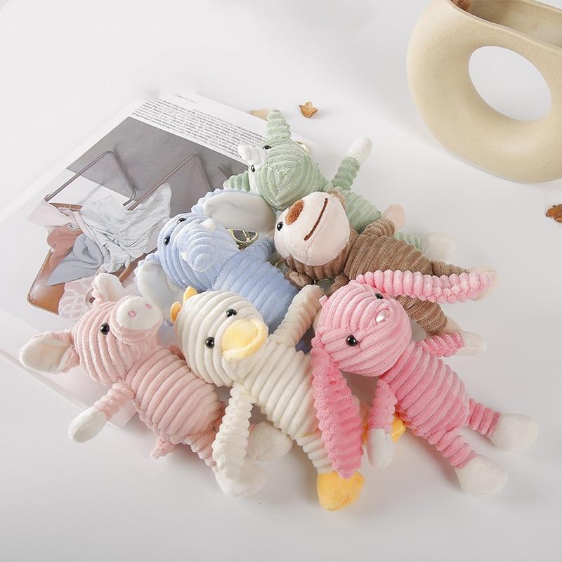 Kawaii Stuffed Animals Soft Toys Rabbit Duck Elephant Piggy Monkey Rhinoceros Plush Keychain Bag Decoration Pendant Girls Toys