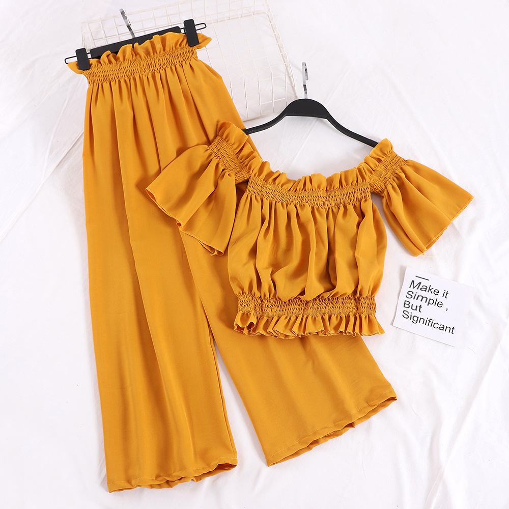New Style Late Evening Breeze Playful Online Celebrity Two-Piece Set Retro A- line Exposed Shoulder Goddess-Style Loose Pants Fe