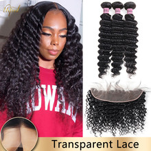 Transparent Lace Frontal With Hair Bundles Brazilian Deep Wave Hair Bundles With Frontal Human Hair Bundles For Black Women