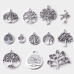 12Pcs/set Mixed Antique Silver plated Life Tree Spacer Charms Accessory for jewelry making Bracelet necklace earring wholesale