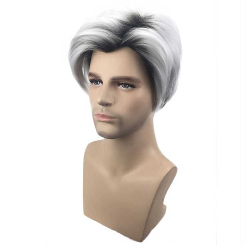 Gres Cosplay Pruiken Voor Mannen Grey Ombre Mannelijke Pruik Korte Carlos Cos Synthetische Haarstukje Zijscheiding Hoge Temperatuur Fiber