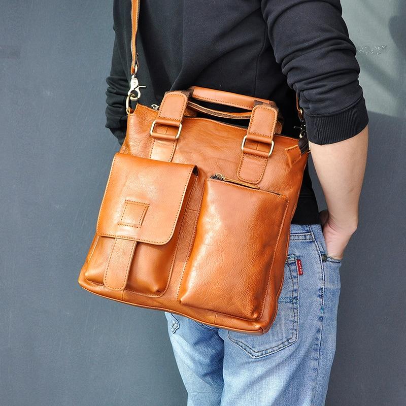 "H4c81642ad46d41a3a0375c02aede9d985 Men Original Leather Retro Designer Business Briefcase Casual 12"" Laptop Travel Bag Tote Attache Messenger Bag Portfolio B259"