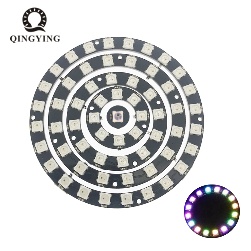 5pcs-50pcs WS2812 LED Chip Round Ring PCB 1/8/12/16/24 Bits DC5V 5050 RGB Smart Full Color Lamp Light With Integrated Drivers