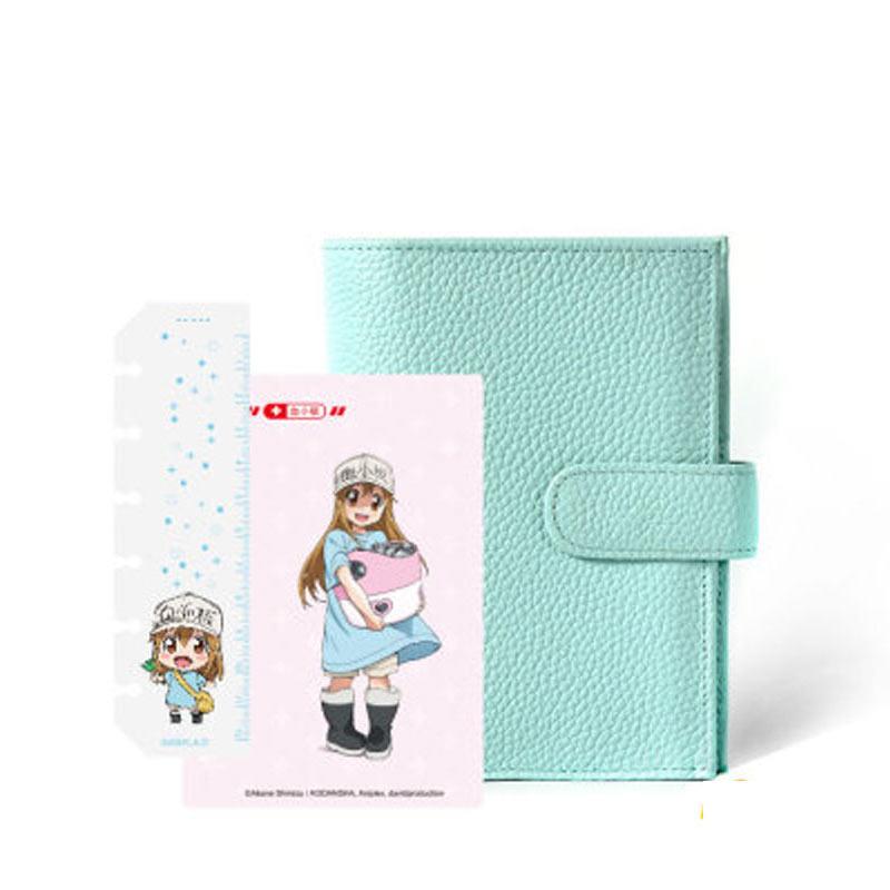 Yiwi Blue Genuine Leather Rings Notebook A7 Size Binder Agenda Organizer Diary Journal Sketchbook Planner Money Pocket