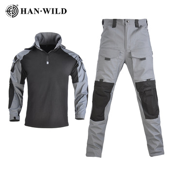 HAN WILD Hooded Tactical Suit Camo Uniform Military Shirt + Pants Army CS Shooting Training Combat Sport Hiking Shirts with Pads 1