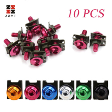 ZXMT 10x Motorcycle M6 6mm Windscreen Bolts Kit Set Fastener Clips Screw Spring Nuts Aluminum black red gold blue silver green