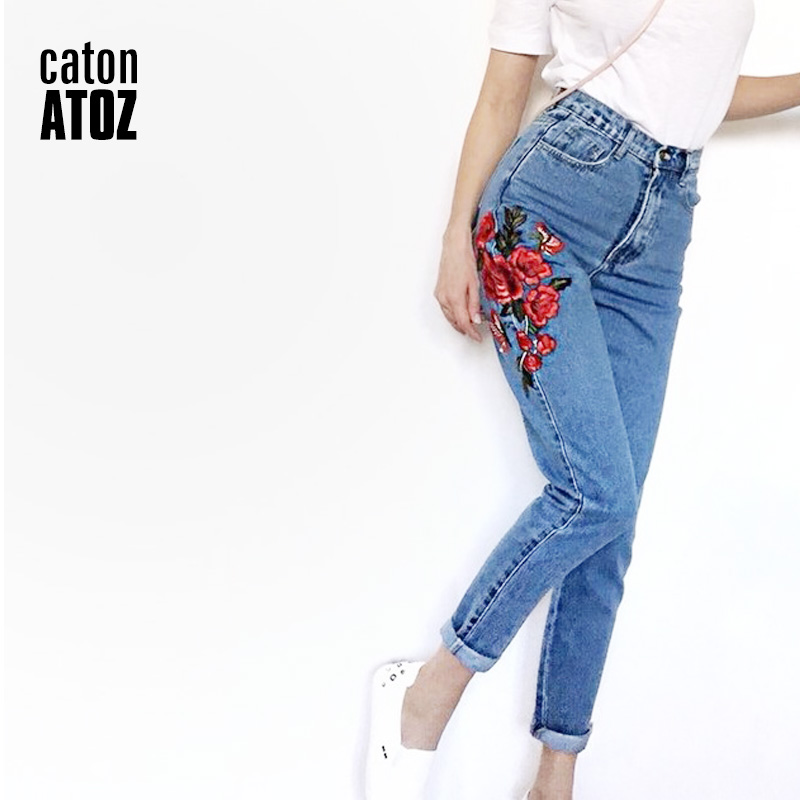 CatonATOZ 2121 Women`s High Waisted Mom Jeans With Embroidery Flowers Boyfriend Denim Pants Trousers Jeans For Woman