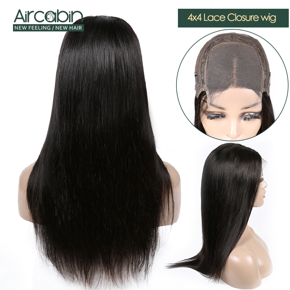 Aircabin Closure Wig Human-Hair Lace Straight Women Brazilian Non-Remy Black 4x4  title=