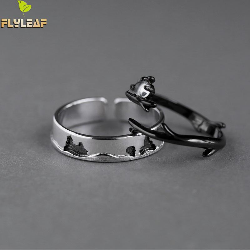 Flyleaf Forest Branch Do The Old Couple Open Ring Men 925 Sterling Silver Rings For Women Black Jewelry Vintage Lovers' Gifts