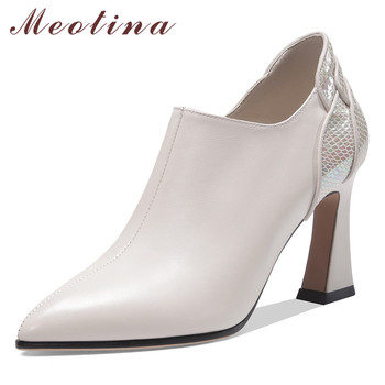 Meotina High Heels Women Pumps Natural Genuine Leather Zip Block High Heel Shoes Cow Leather Pointed Toe Shoes Lady Big Size 42