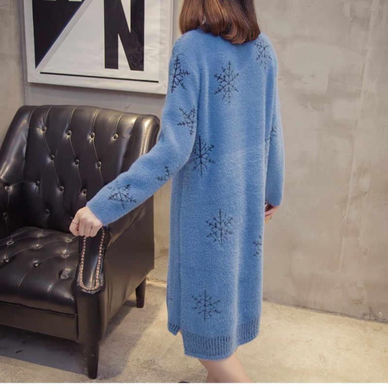 ชุดฤดูหนาวฤดูใบไม้ร่วงเสื้อผ้าผู้หญิงใหม่เทียมน้ำกำมะหยี่เสื้อกันหนาวถัก Pullover หลวมขนาดใหญ่ WARM กลาง-ยาวชุด