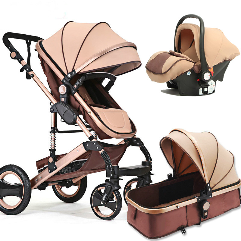 Baby Stroller 2 In 1 Stroller Lying Or Dampening Folding Light Weight Two-sided Child Seasons Multifunctional  Newborn Stroller