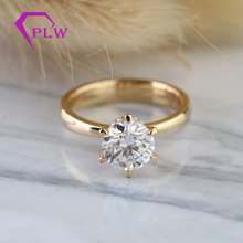 Ring Solitaire Engagement Dress Moissanite Gold 6-Claw Classic 18K 14K 10K 1ct