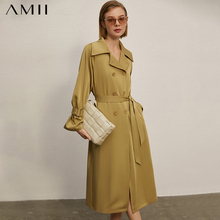 Women's Coat Amii Spring Double-Breasted-Belt New Lapel Temperament Minimalism 12140255