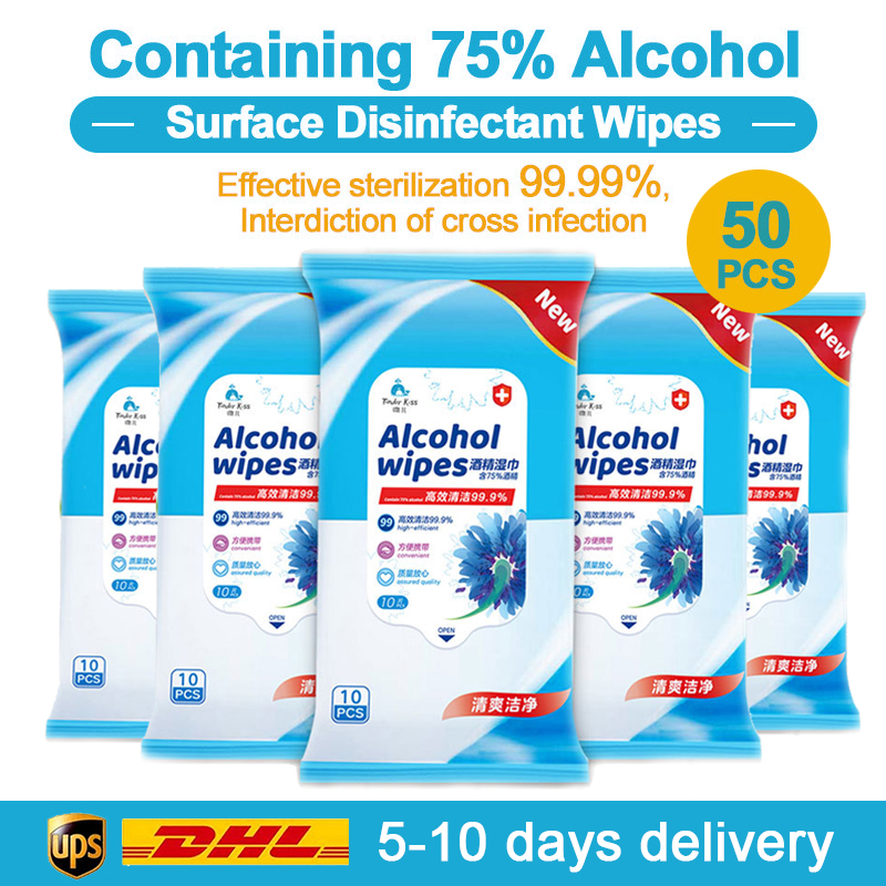 VIP LINK 50pcs Alcohol Disinfect Wipes 75% Super Soft Alcohol Wipe Antiseptic Pads Large Wet Wipes