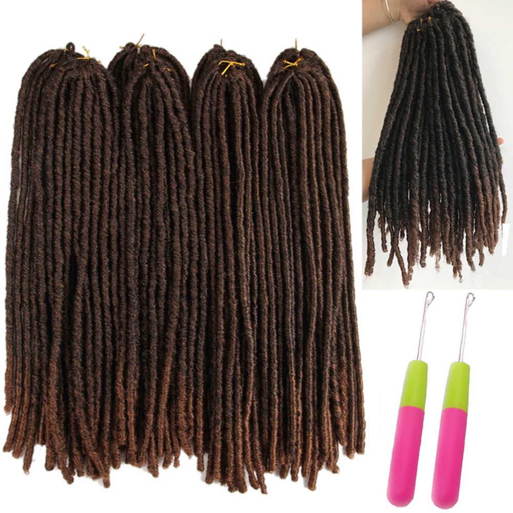 جدائل شعر صناعية ملحقات المجدل أومبير اللون البني X-TRESS لينة على التوالي فو Locs جدائل الكروشيه الشعر للنساء