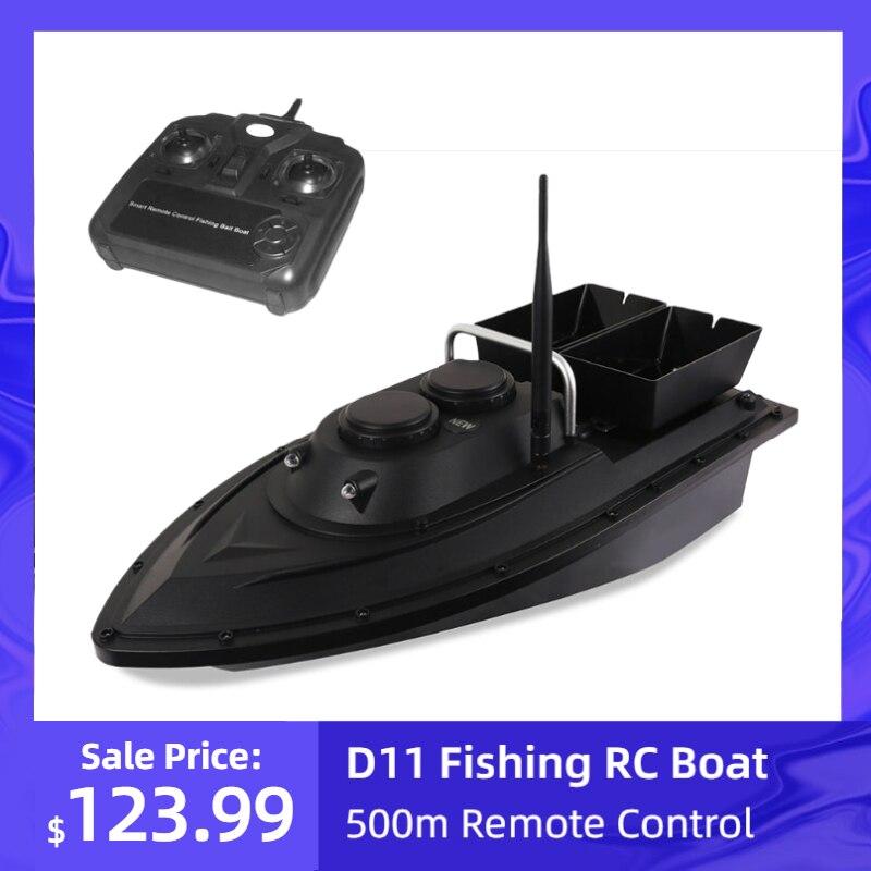 D11, appât de pêche en bateau radiocommandé, 1.5kg, charge 500m, télécommande, vitesse fixe avec 2 batteries et 2 moteurs, 2 lumière LED