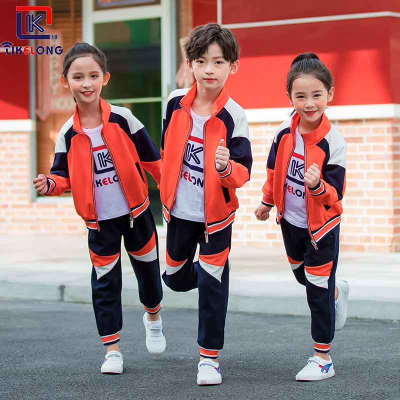 2019 New Style Young STUDENT'S School Uniform Spring And Autumn Sports Set Kindergarten Suit Autumn And Winter Two-Piece Set Chi