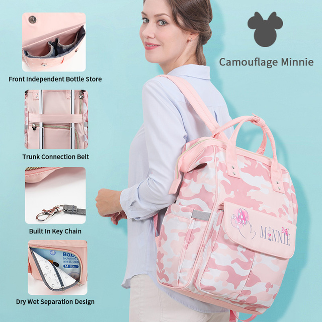 Disney Mickey Mouse Pink Diaper Bags Waterproof Large Capacity Maternity Backpack for Mom Baby Care Mommy Travel Bag Organizer Bags Kids