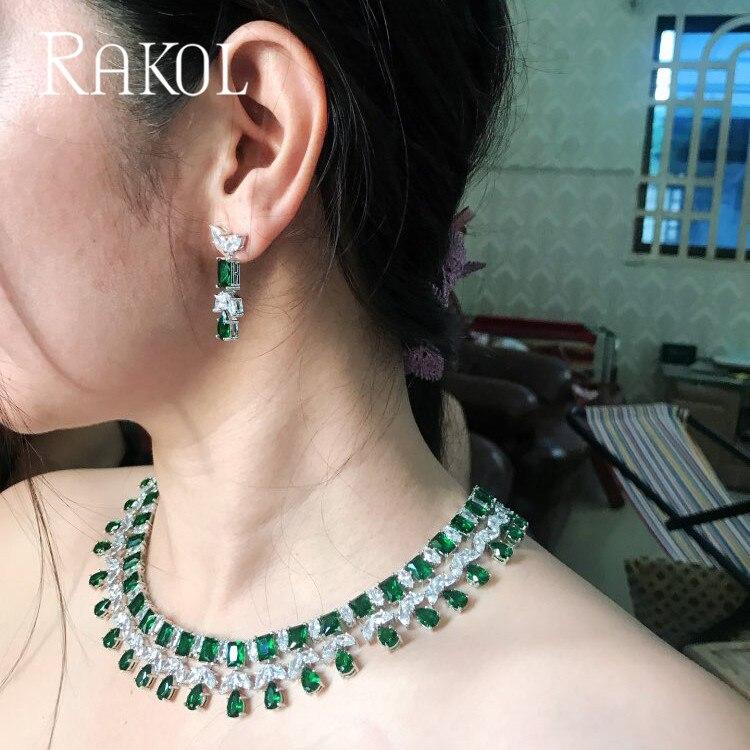 RAKOL nouveau Top qualité bleu cubique zircon boucles d'oreilles collier ensemble pour les femmes goutte d'eau Dangles luxe dîner fête bijoux RS0390