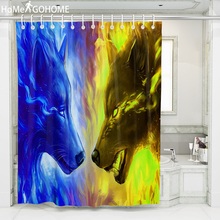 Blue and Yellow Wolf 3D Shower Curtains Anime Bathroom Mildew Proof Bath Curtain Waterproof Fabric Door 8 Size