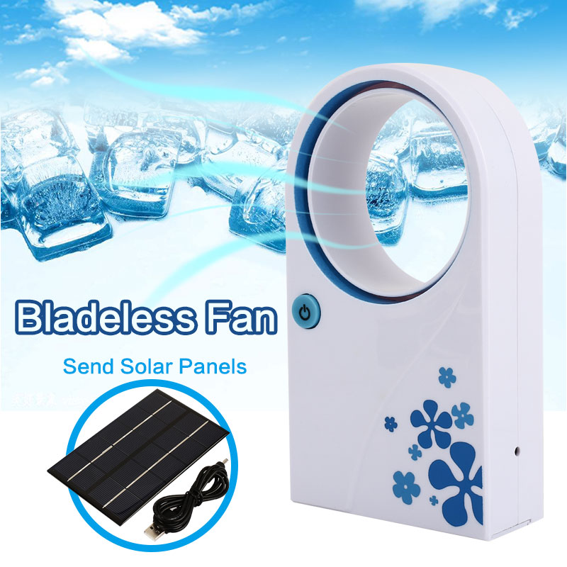 Mini Bladeless Fan Solar Charger Panel USB Ventilation Air Cooler Mini Outdoor Travel Air Cooling Without Vane Fan Outdoor