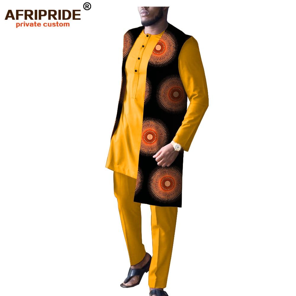 2019 Mens Dashiki African Tribal Clothing Long Coat Jacket+Print Shirt+Pant 3 Piece Set Traditional AFRIPRIDE A1916009