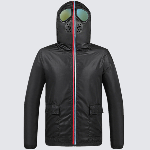 Men Jacket Spring Big Size 4xl Protective Windbreaker Jackets Women Motorcycle Hooded with Glasses Mask Male Coat Thin Korean
