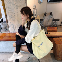 Fashion letter embroidery canvas bag large capacity shoulder bag casual shopping bag student handbag